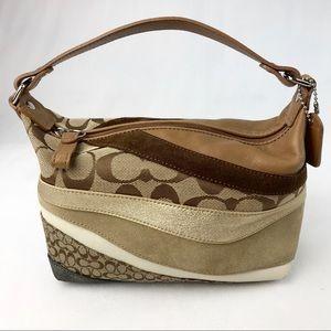 Coach Brown Patchwork Small Hobo Handbag